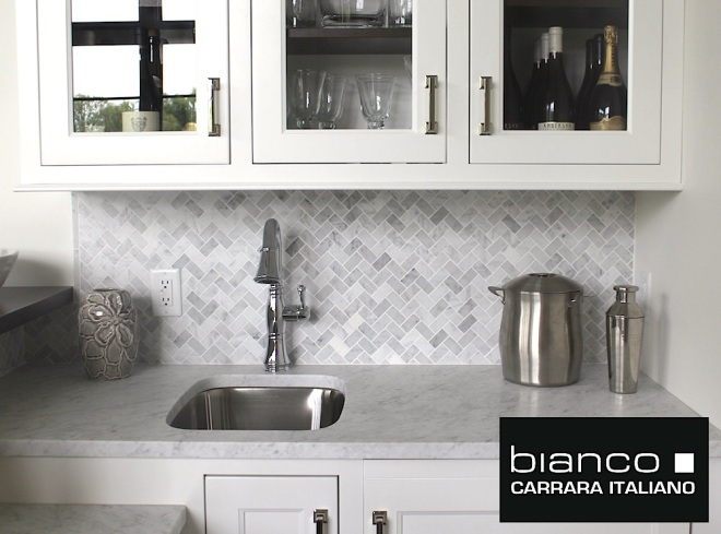 Carrara Bianco Herringbone Backsplash Tile Honed