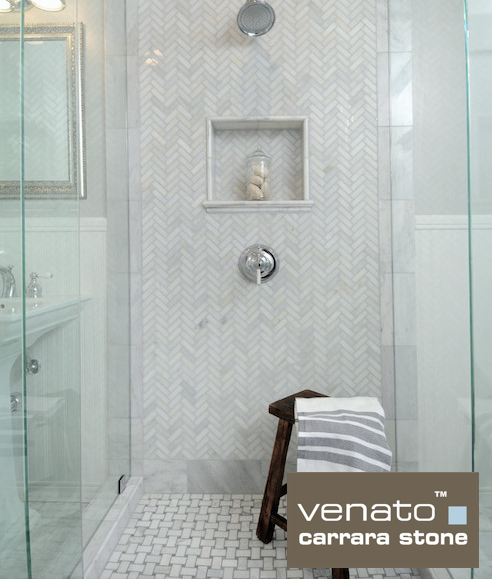 Carrara Venato 1x3 Herringbone and Gray Dot Basketweave Mosaic