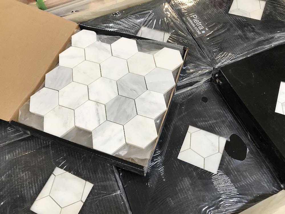 3x3 Hexagon Carrara
