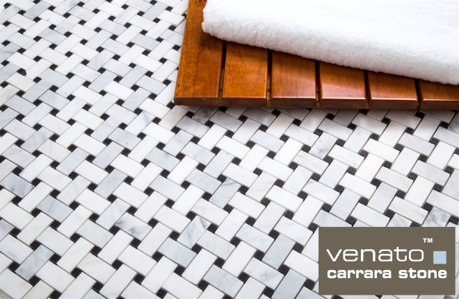 Carrara Venato Basketweave