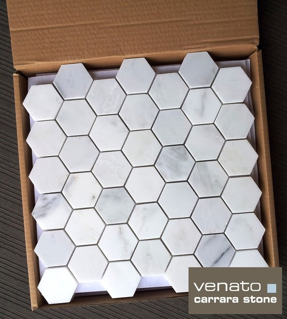 Carrara Venato 2x2%22 Hexagon