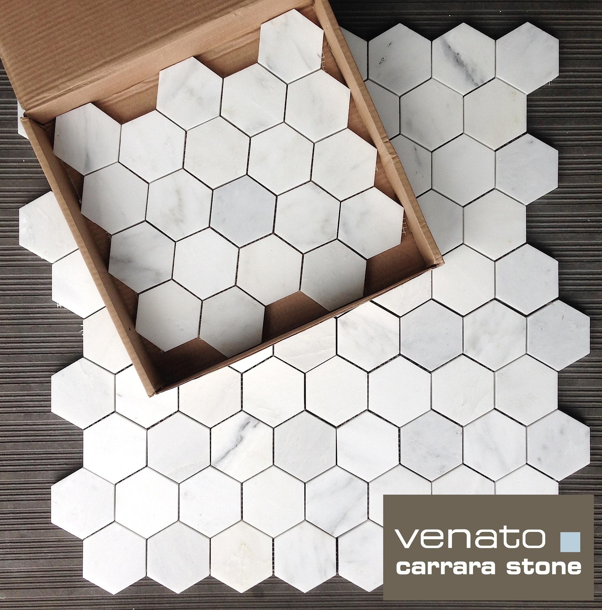 Carrara Venato 3x3%22 Hexagon