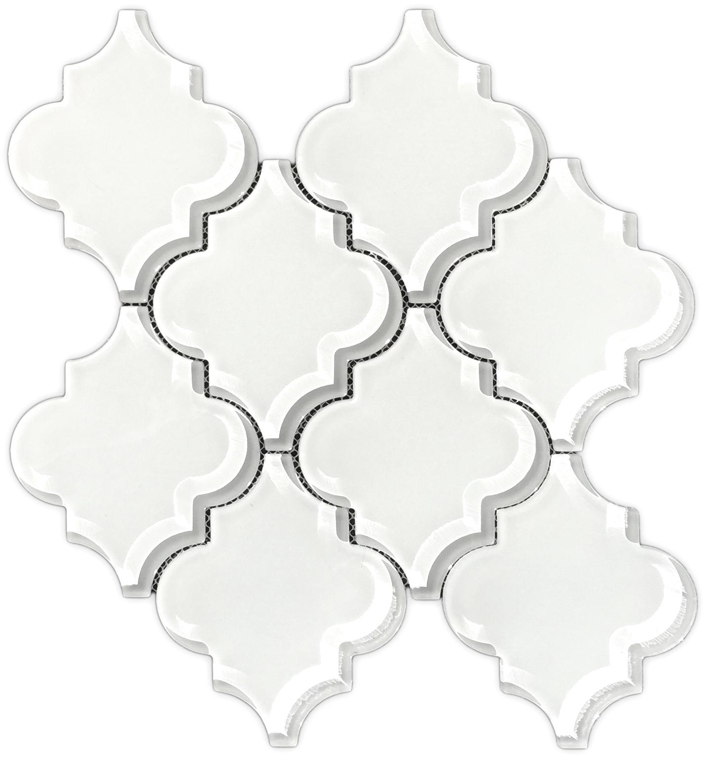 Brillaiant White Glass Arabesque Mosaic