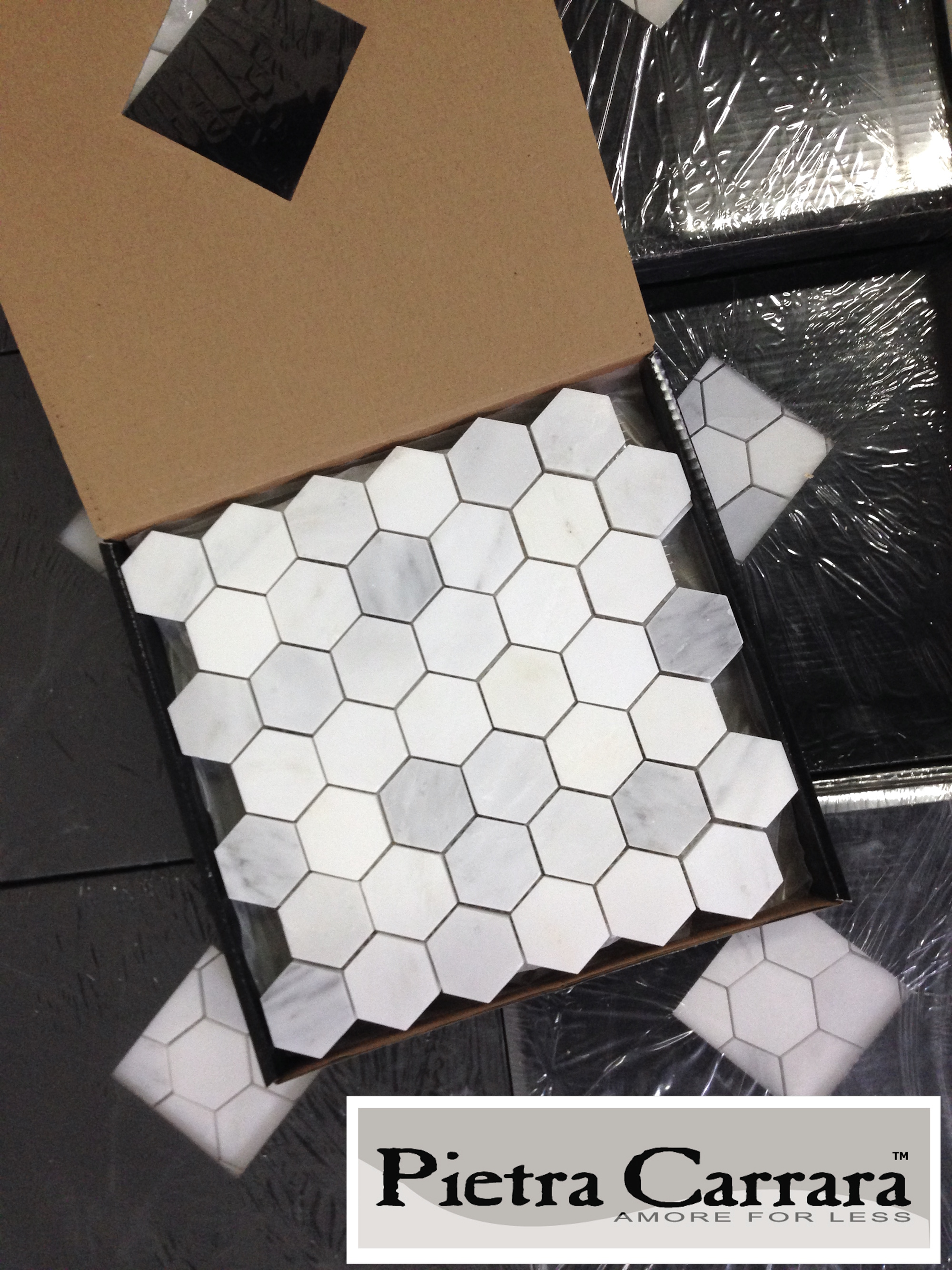 Carrara Pietra 2%22 Hexagon