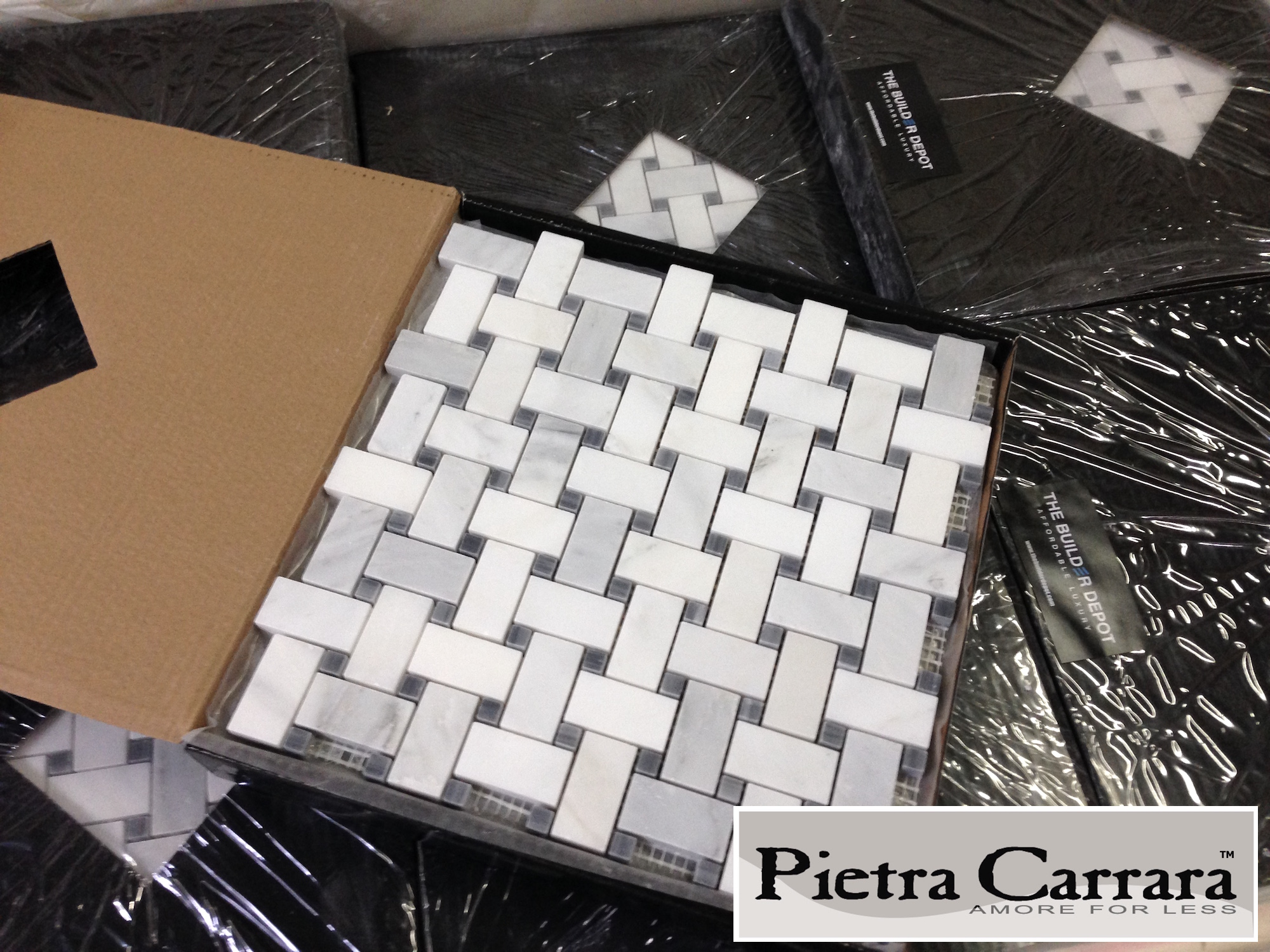 Carrara Pietra Basketweave Gray Dot