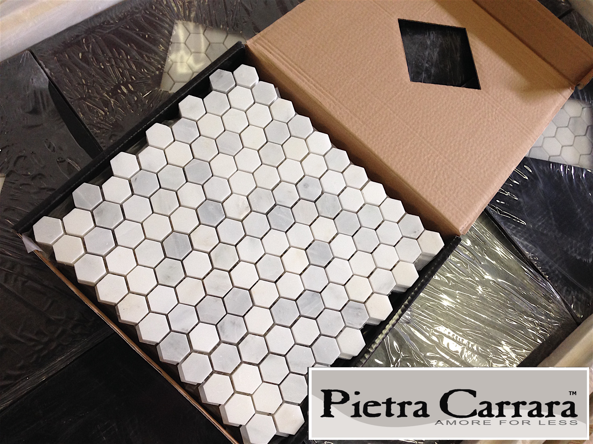Pietra Carrara 1x1%22 Hexagon