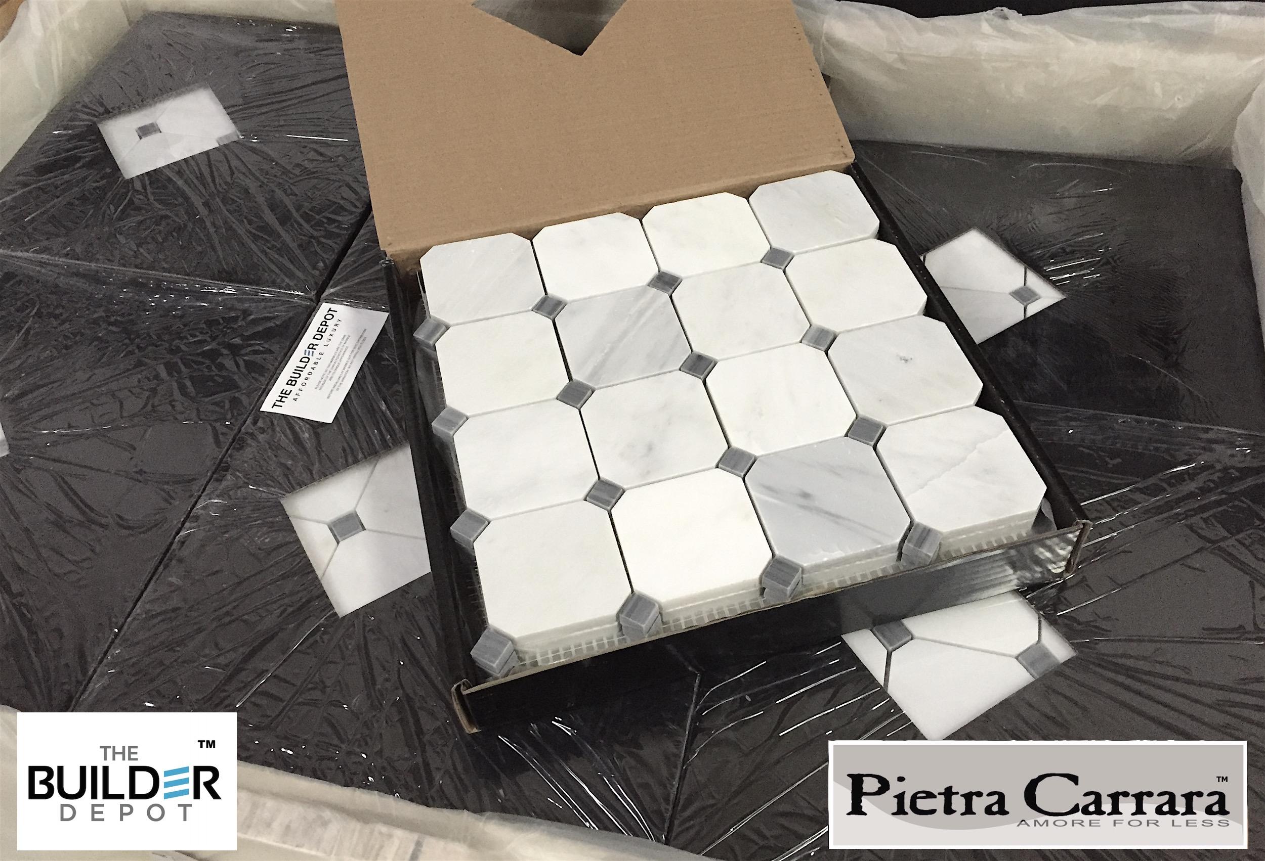 Pietra Carrara 3%22 Octagon with Bardiglio Dot