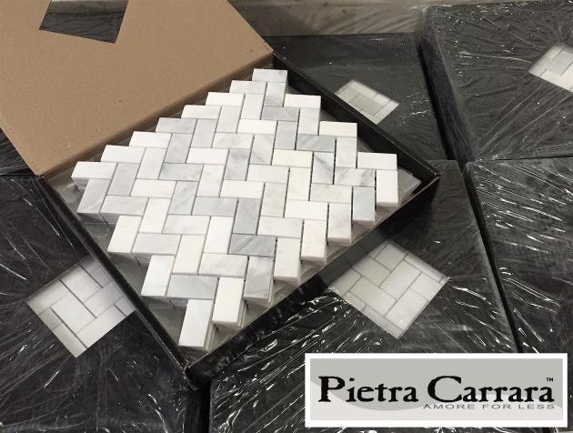 Pietra Carrara Herringbone