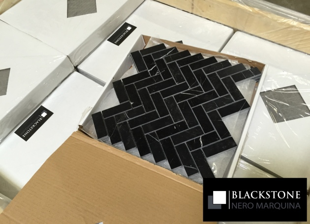 Black Marble Herringbone