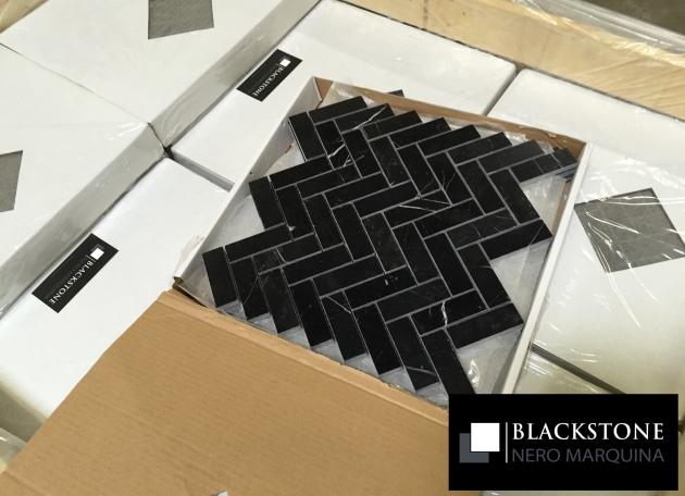 Black Marble Herringbone