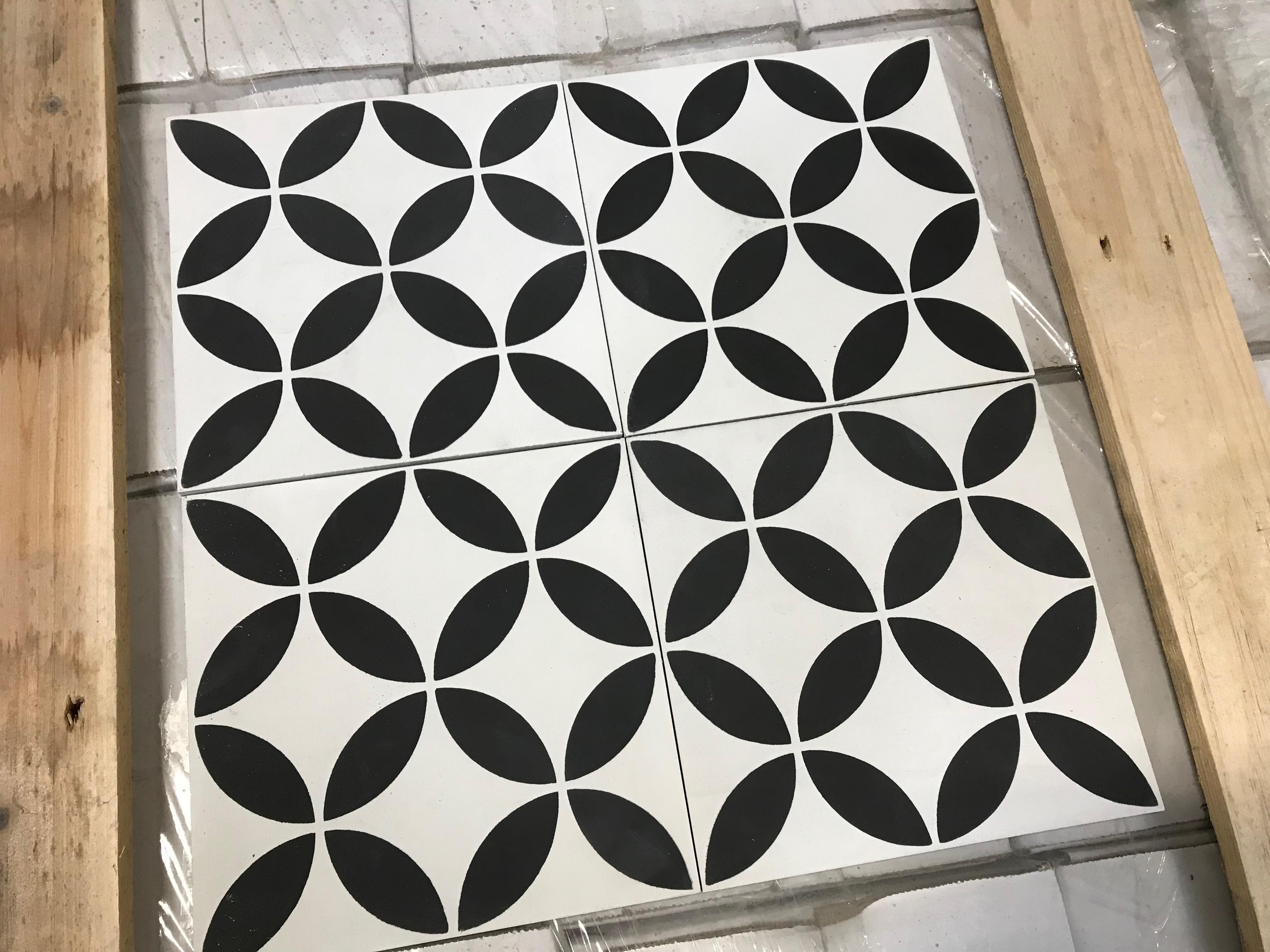 Handmade Encaustic Cement Tiles Circles Black Design The